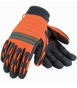 #120-4700 PIP® Maximum Safety® Hi-Vis Orange Coal Miner's Miracle Work Gloves with Leather Palm and Neoprene Wrist
