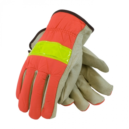 #125-368 PIP® Top Grain Pigskin Leather Palm Driver's Glove with Hi-Vis Nylon Back