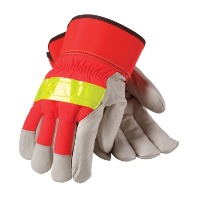 PIP® 3M Thinsulate Top Grain Pigskin Leather Palm Glove with Hi-Vis Nylon Back - Rubberized Safety Cuff