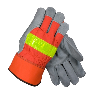 #125-7563 PIP® Select Shoulder Split Cowhide Leather Palm Glove with Hi-Vis Nylon Back and Rubberized Safety Cuff