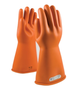 Class 1 ESD  Gloves-Orange, PIP 14` Novax® Electrical Safety Class 1 Rubber Insulating Gloves, 147-1-14