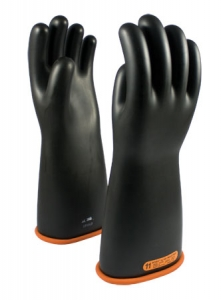 155-4-16 PIP® 16` Novax® Electrical Safety Class 4 Rubber Insulating Protective Work Gloves, Two Tone Black and Orange