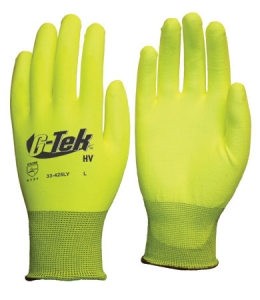 33-425LY PIP® G-Tek® GP™ Hi-Vis Seamless Knit Polyester Glove with Polyurethane Coated Smooth Grip on Palm & Fingers