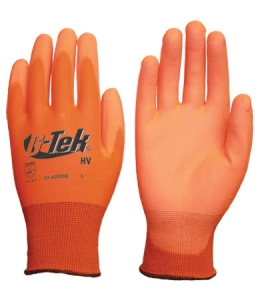 #33-425OR PIP® G-Tek® HV Hi-Vis Seamless Knit Polyester Glove with Polyurethane Coated Smooth Grip on Palm & Fingers