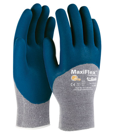 MaxiFlex® Comfort™ Seamless Knit Cotton / Nylon / Lycra Glove with Nitrile Coated MicroFoam Grip on Palm, Fingers & Knuckles #34-9025