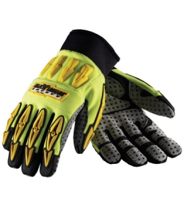 #120-4050 PIP® Maximum Safety® Hi-Vis Mad Max II Riggers Work Gloves with Dotted Palms and Airprene Wrists
