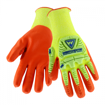 West Chester Protective Gear HVY710HSNFB Hi Vis Yellow HPPE Orange Foam Nitirle Palm with Back of hand protection and Kevlar® reinforced thumb saddle