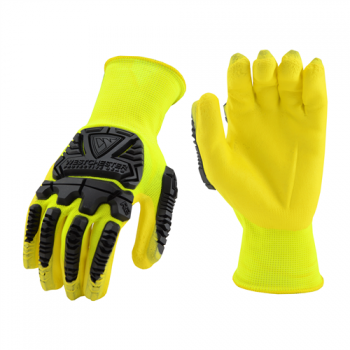 West Chester Protective Gear HVY713NFB Hi Vis Yellow shell with Hi-Vis Foam Nitirle Palm Dip and Impact Protection