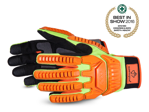 #MXD3O Superior Glove® Clutch Gear® Hi-Viz Anti-Impact Mechanics Gloves w/ D3O® Backing