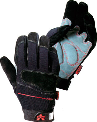 Valeo® Mechanics Split-Leather Anti-Vibe Glove with AV GEL™, V420 Valeo® Mechanics Split-Leather Anti-Vibe Work Gloves, V420/GMLA