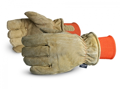 #678AFTLK Superior Glove® SnowForce™ Brown Split Leather Thinsulate™ Lined Freezer Gloves