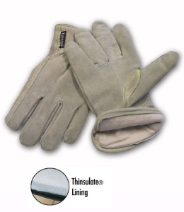 MDS Economy Cowhide Leather Driver's Work Gloves w/ Thinsulate® Insulation
