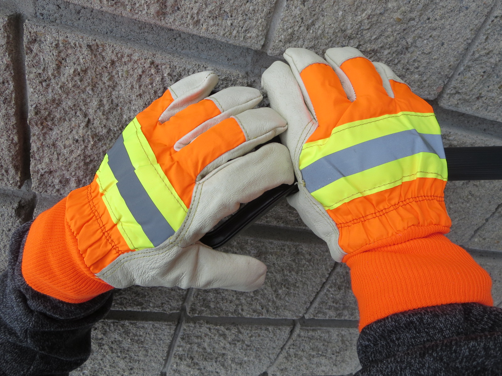 Hi-Viz Leather Reinforced Winter Work Gloves w/ Knit Cuffs