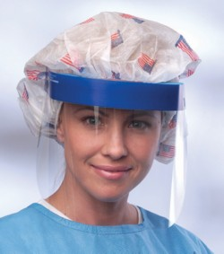 MDS Economy Disposable Face Shield w/ Contoured Foam Band. Color blue.