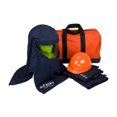 PIP® #9150-52436 PPE 4 ARC 40 Cal/cm2 Jacket/Overall Flash Kit contains jacket, overall, Arc hood, safety glasses, hard hat, and a carry bag.