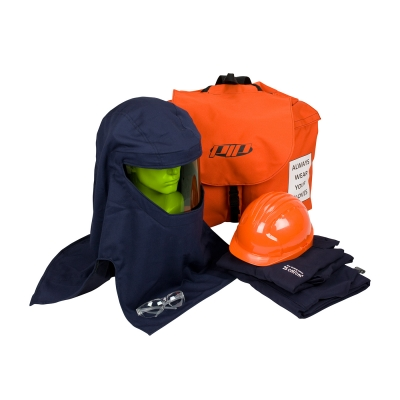PIP® PPE 3 ARC 25 Cal/cm2 Flash Kit Contains coverall, Arc hood, safety glasses, hard hat, head gear storage bag, and a back pack