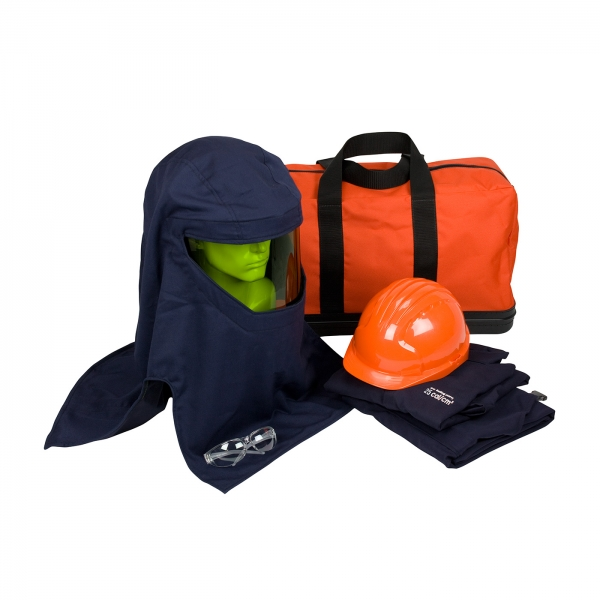 #9150-52917 PIP® HRC 3 ARC Coverall Flash Kit - 33 Cal/cm2 contains coverall, arc hood, safety glasses, hard hat, and carry bag
