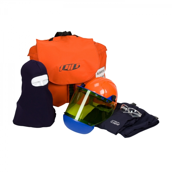 #9150-5488E  PIP® HRC 2 ARC Coverall Flash Kit - 12 Cal/cm2 contains dual certified coverall, hard hat with arc shield, balaclava, safety glasses and carry bag