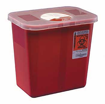 Red Sharps Disposal Container