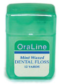 #33830 Oraline 12 Yard Mint Waxed Nylon Dental Floss