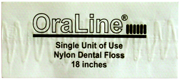 #ORA3002 OraLine® 18` Single Use Individually Wrapped Nylon Dental Floss Packet