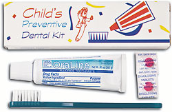 #48001 Oraline® Kids' Preventive Dental Kits w/ Toothbrush, Tooth Paste, Disclosing Tablets & Travel Bag