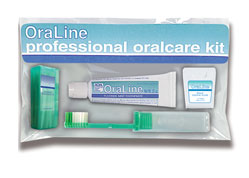 #48003 Oraline® Periodontic Patient Kits w/ Travel Bag Includes Toothbrush, Floss, Wood Sticks & Paste