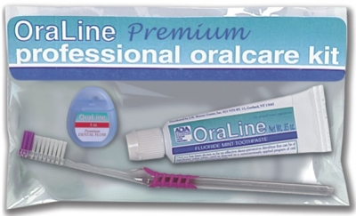 #48006 Oraline® Premium Adult Dental Preventative Aid Kits w/ Travel Bag Includes Toothbrush, PTFE Floss, 0.85-oz Toothpaste