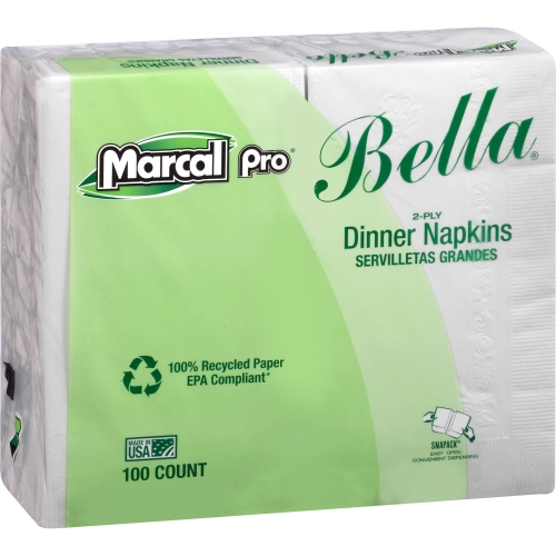 Marcal Pro® 2-Ply White 15` x 17` Dinner Napkins