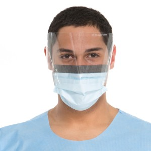 28821 Halyard® Fluidshield® Level 2 Fog-Free Pleated Procedure Mask w/ Ear-loops & WrapAround Visor
