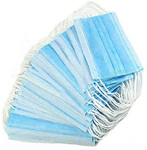 98% High Efficiency 3-Ply Hypoallergenic Pleated Blue Ear-Loop Face Masks