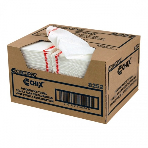 8252 Chicopee® Chix® Disposable White Foodservice Towels w/ Microban®, 13` x 21`